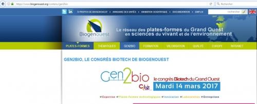 Gen2bio  le congrès biotech de Biogenouest 14/03/17 à Nantes