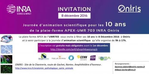 10 ans de la Plateforme APEX-UMR703 INRA Oniris, le 8 décembre 2016