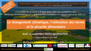 Affiche demi-journée special report on climate change and land