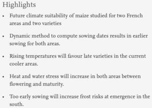 Assessing future meteorological stresses for grain maize in France - publi projet phare 1