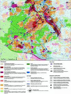 Carte analytique (détail) de l'atlas climatique de la Région urbaine de Stuttgart (2008) - figure publi note de recherche projet phare 1