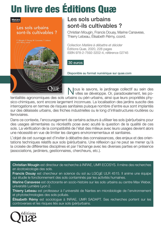 Annonce ouvrage Sols urbains cultivables p1
