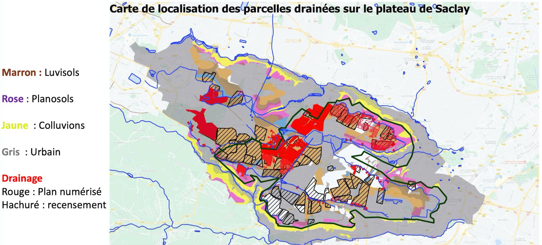 carte de localisation des parcelles drainées