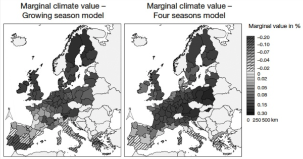 Figure publi STIMUL - Climate Variable Choice in Ricardian Studies of European Agriculture