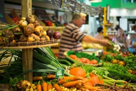 Etale d'un marché bio