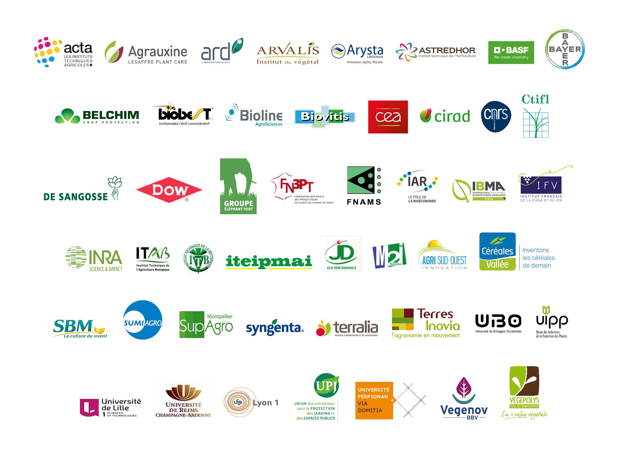 Logos des adhérents au consortium biocontrôle