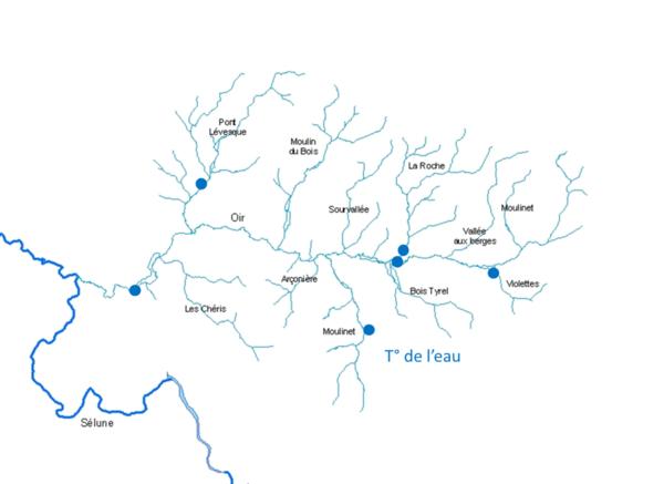 Carte des sites de relevés de température de l'eau sur l'Oir