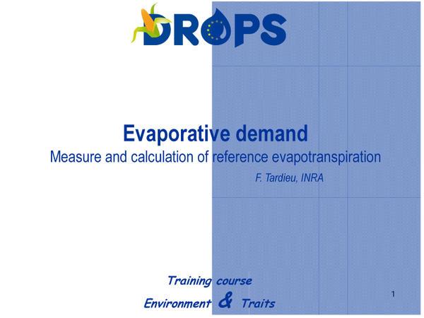 Evaporative demande