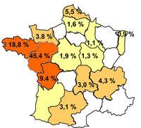 Carte de la production cunicole française