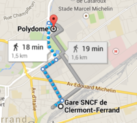 Trajet Gare SNCF - Centre Polydome