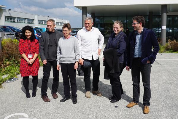 Lancement du Labcom ESTIM le 5 avril 2017 à Angers, avec Tanegmart Redjala (RFI Objectif Végétal), Philipe Simoneau (Vice-Président Recherche de l'Université d'Angers, Directeur du Département Agro-écosystèmes et Alimentation de l'Université Bretagne-Loire, Directeur adjoint de l'UMR-IRHS), Marie-Noelle Brisset (Directrice de recherche Inra à l'UMR-IRHS et Directrice adjointe du LabCom ESTIM), Philippe Grappin, directeur du LabCom ESTIM, directeur du Département Sciences Végétales pour l'Agriculture et l'Horticulture d'Agrocampus Ouest, Anne Puech (Responsable du programme LabCom, à l'Agence Nationale pour la Recherche), Alain Ferre (Directeur technique d'Arexhor Pays de la Loire et co-directeur du LabCom ESTIM).