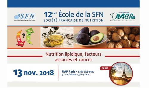 Ecole SFN NACRe nutrition lipidique cancer Paris novembre 2018