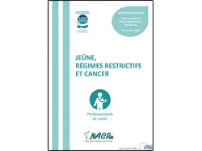 Dépliant NACRe professionnels « Jeûne, régimes restrictifs et cancer » 2018
