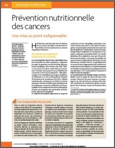 Article prévention nutritionnelle des cancers - Revue du Praticien de Médecine Générale