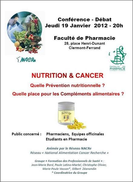 Formation NACRe nutrition et cancer pharmaciens Clermont-Ferrand 19/01/2012