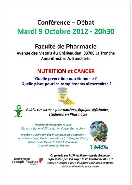Formation NACRe nutrition et cancer pharmaciens Grenoble 09/10/2012