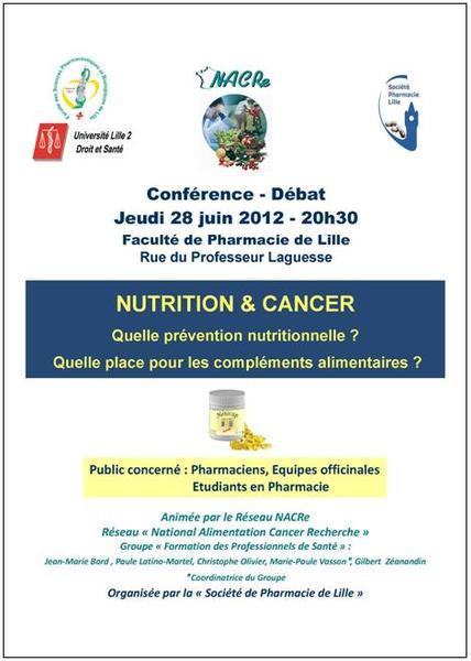 Formation NACRe nutrition et cancer pharmaciens Lille 28/06/2012