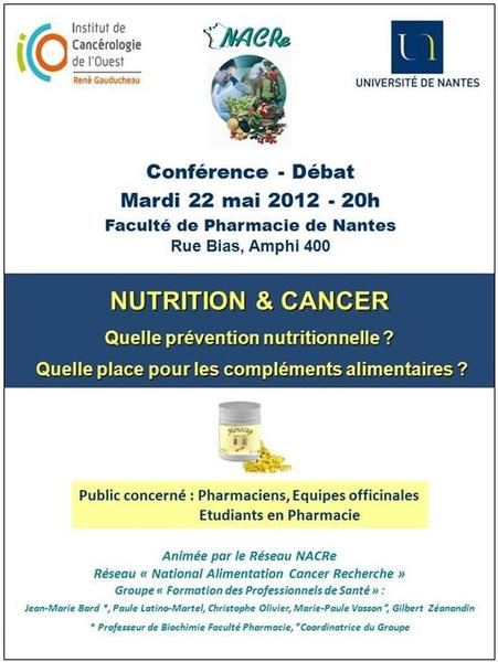 Formation NACRe nutrition et cancer pharmaciens Nantes 22/05/2012