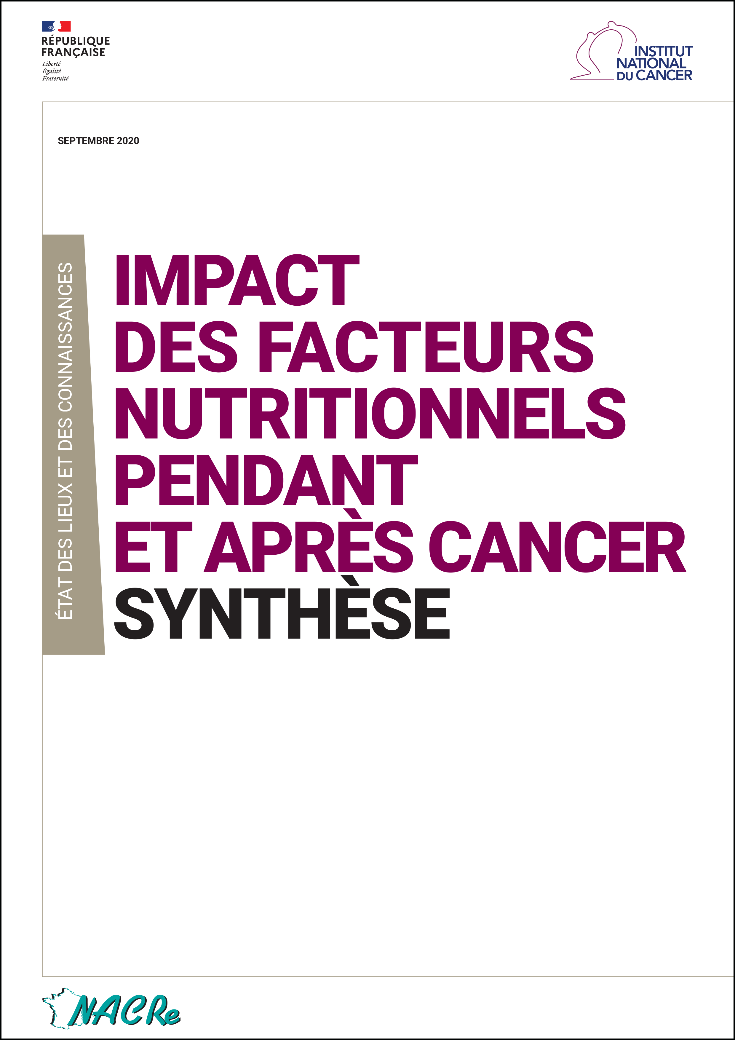 Synthese ''Impact des facteurs nutritionnels pendant et après cancer'' INCa-NACRe 2020