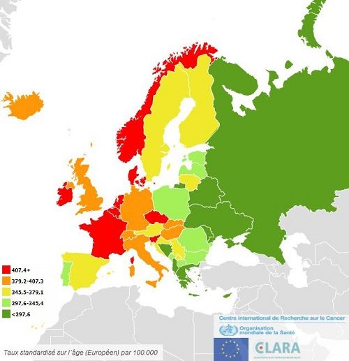 Carte incidence tous cancers Europe 2012