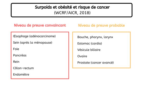 Localisation de cancers - Surcharge pondérale France 2020