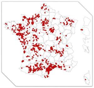 Répartition géographique des cas Piro-Like déclarés au RESPE entre le 05/11/2013 et le 31/07/2017 (Durand-Delacre 2017)
