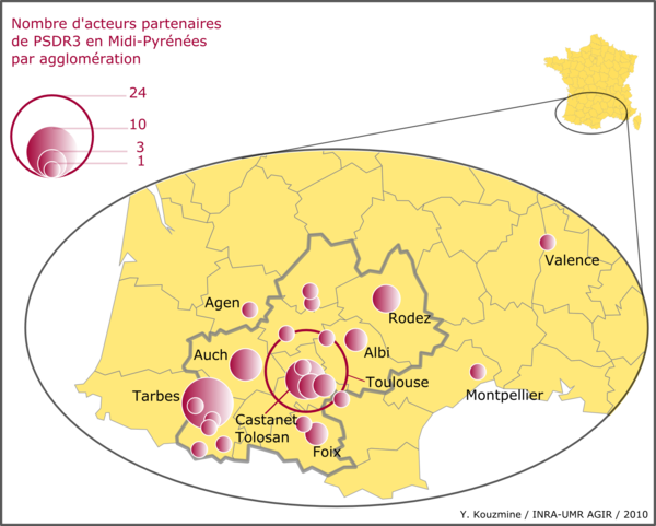 Carte de localisation des acteurs partenaires de PSDR