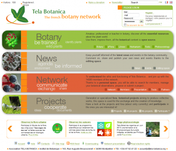 Screenshot of the Website Tela Botanica
