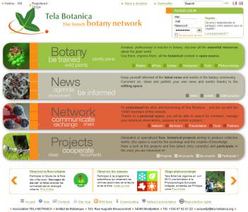 Page d'accueil du site Web Tela Botanica