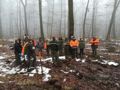 Groupe de travail lors de la visite sur le site de Lamarche (88)