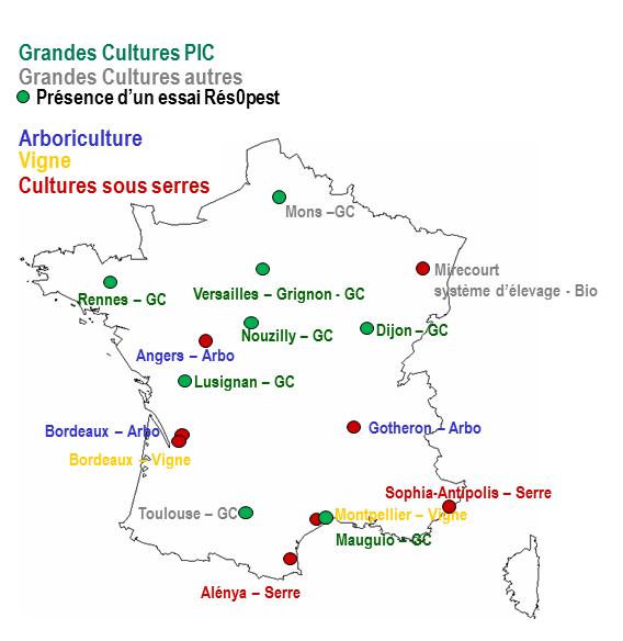 Carte des unités expérimentales du Réseau PIC